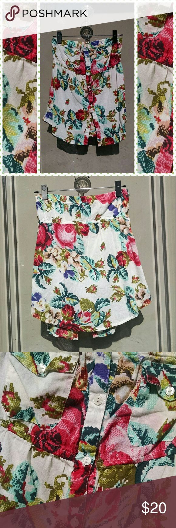 Strapless button down Floral top So cute for summer! Gently worn. Light weight material! Cross stitch print floral design!   Reasonable offers considered! BUNDLE AND SAVE! 😘  Tags summer vacation hot sexy sun beach pool flirty look stylish street Urban outfitters unif pin-up style vintage apothecary Vogue sun date night outfit celebrity elegant Urban Outfitters Tops