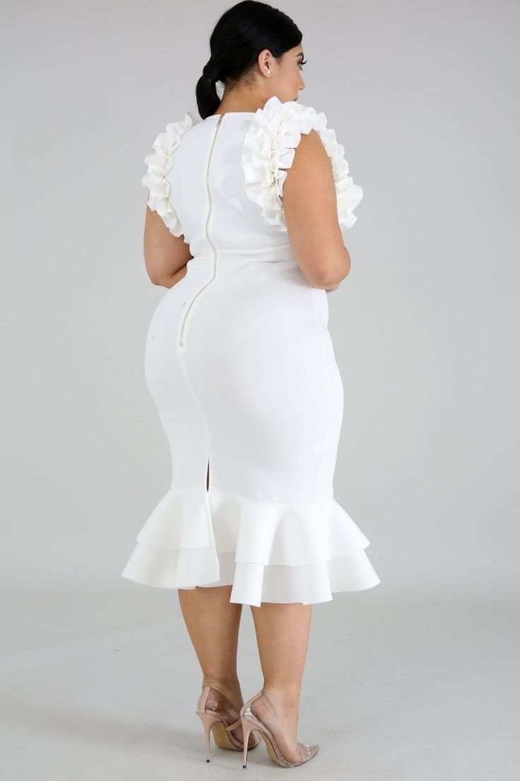 Plus Size Rumba Ruffle Mermaid Midi Dress Ivory Mermaid Midi Dress White Dress White Dress Party