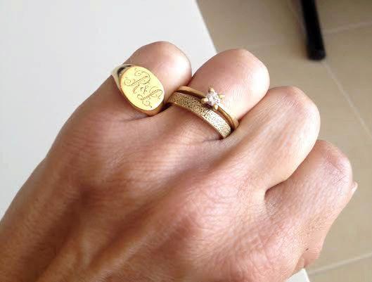 Silver Monogram Pinky Ring