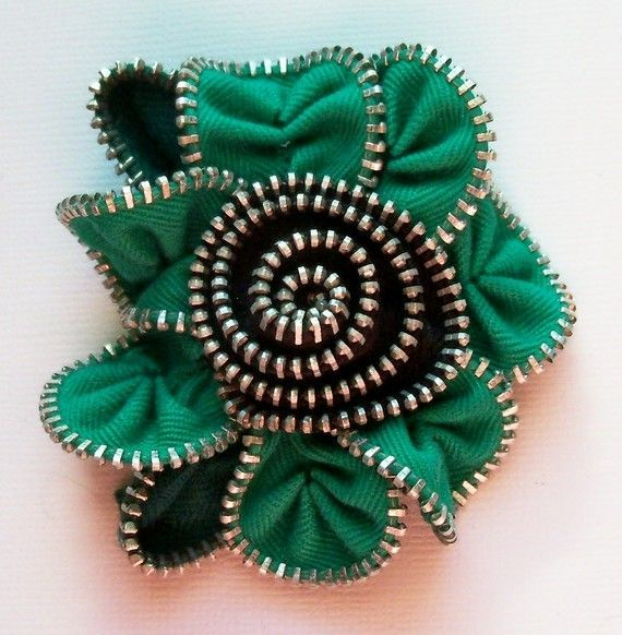 flor de cremallera, verde.