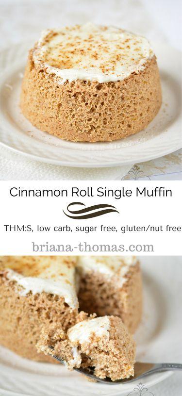 Cinnamon Roll Single Muffin...THM:S, low carb, sugar free, gluten/nut free...Briana's Baking Mix option