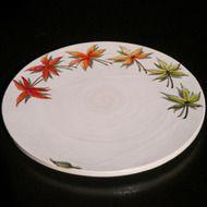 陶板画プレート-四季のモミジ/下絵付けによる静物画の画像