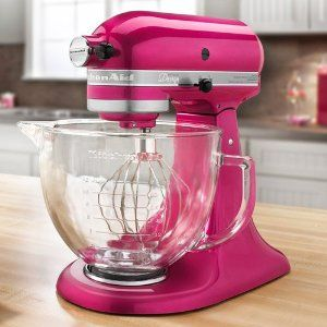 I LOVE Kitchen Aid! The colour is an amazing shade of magenta, with a sparkling sheen. Oh! all the cakes I could make with this machine.