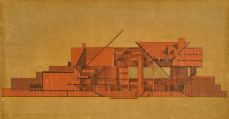 """Carlo Aymonino e Costantino Dardi """"Ospedale psichiatrico a Mirano (Venezia) """", 1967, Matita su carta da lucido più retino, 66,5x122,5 cm."""