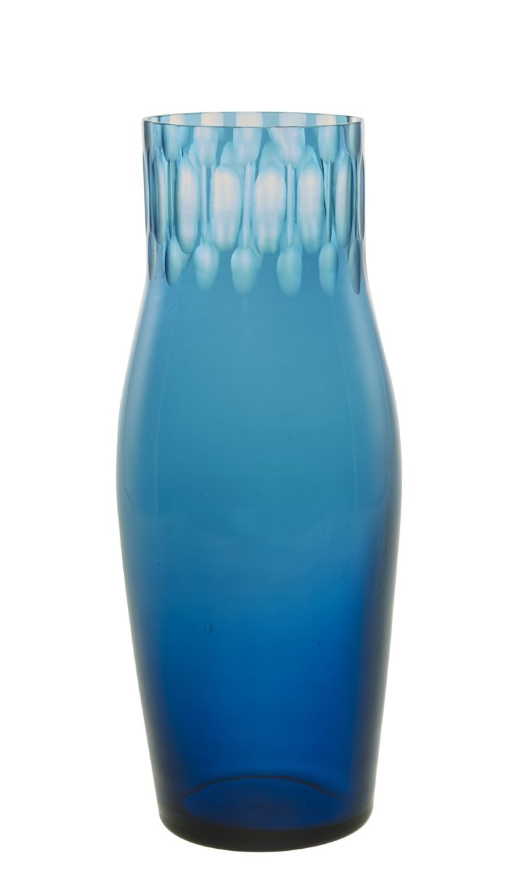 Samourai Glass Vase in stunning turquoise with sculpted detail