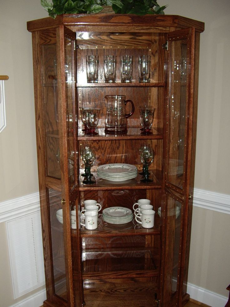 China Cabinets And Hutches Qak Corner Cabinet With Brown Color Complete A Teapot