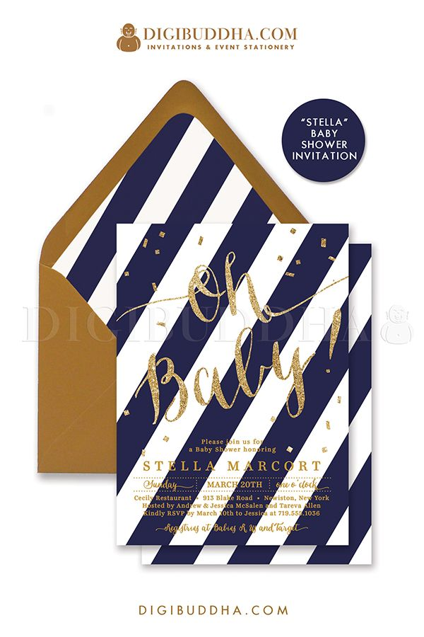 Oh Baby! Navy & gold stripe baby boy Baby Shower invitation with gold glitter lettering and gold confetti details. Choose from ready made printed invitations with envelopes or printable baby shower invitations. Gold shimmer envelopes and matching envelope liners also available. digibuddha.com