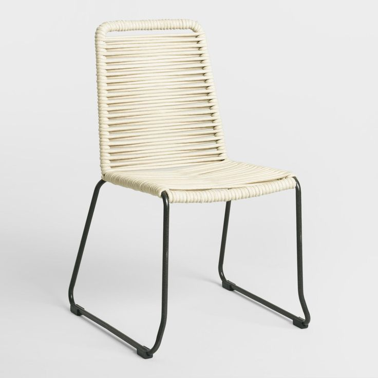 Extra-thick nautical sailing rope creates a stylish and comfortable statement in our dining chair set. Ivory spun-polyester rope covers a soft black textured metal frame in a crisscross weave pattern. Its sleigh legs and stackable design makes our excusive chairs a savvy choice for small spaces.
