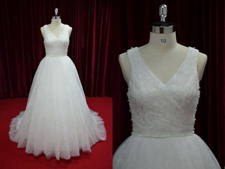 Sleeveless Sequin Lace Wedding Dress Bridal A-Line Gown with Sweep Train JY13029