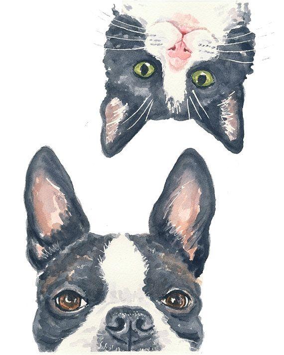 Boston Terrier Watercolor PRINT  11x14 PRINT por WaterInMyPaint, $32.00