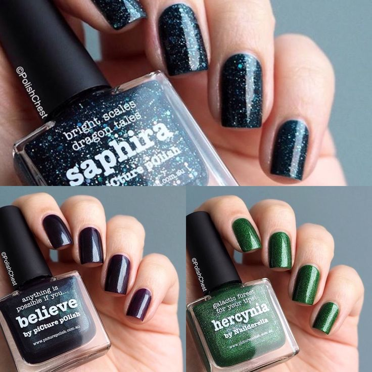 piCture pOlish Fest 2015 = Swatch Collage by @polishchest features Saphira + Believe + Hercynia. www.picturepolish.com.au