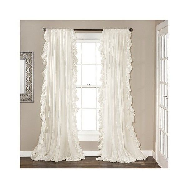 Reyna Window Curtain Panel White (250 DKK) ❤ liked on Polyvore featuring home, home decor, window treatments, curtains, white, target curtains, rod pocket valance, lush decor valance, target white curtains and white valance