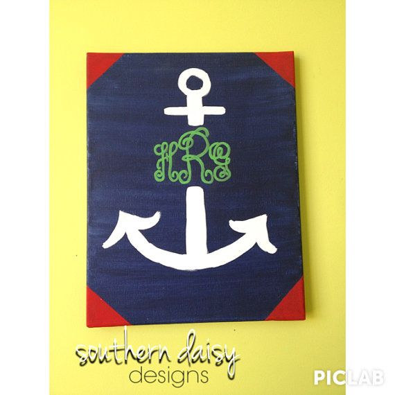 Nautical Monogrammed Anchor Canvas Painting