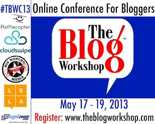 Join me at The Blog Workshop, the online blog conference May 17-19, 2013.  Ticket sales end May 10 #TBW