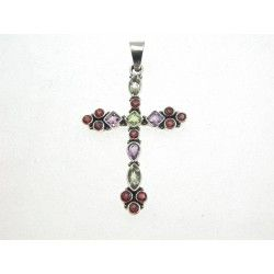 Silver Cross Pendant Mixed Gemstones #Jewellery #Gifts