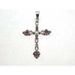 Silver Cross Pendant Mixed Gemstones #Jewellery #Gifts