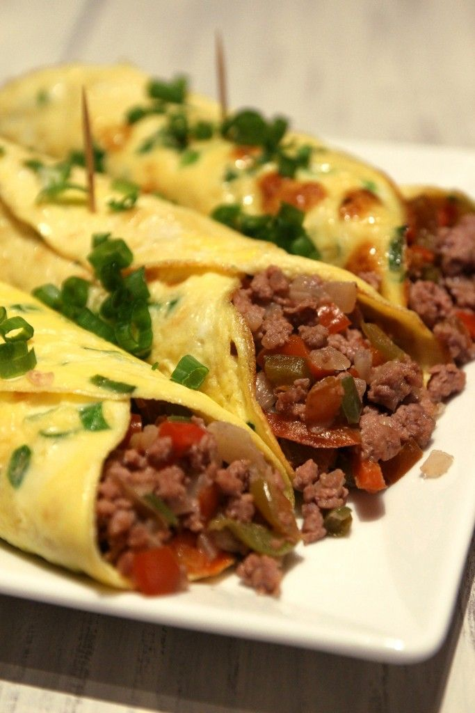 Minced Beef Egg Burritos // Replace with chicken! Brunch party idea.