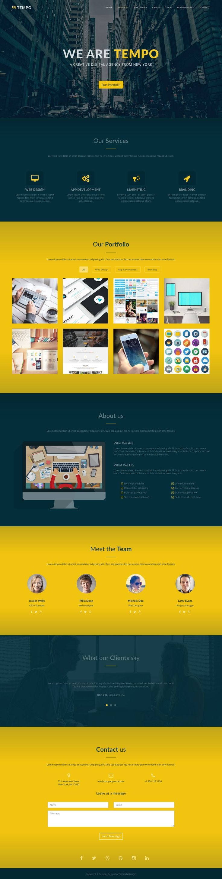 'Tempo' is a free One Page HTML template suited for a digital agency. Sections include services, portfolio (with filter and lightbox), team, testimonial slider and contact form. A decent free offering this by TemplateGarden to help anyone on a tight budget.