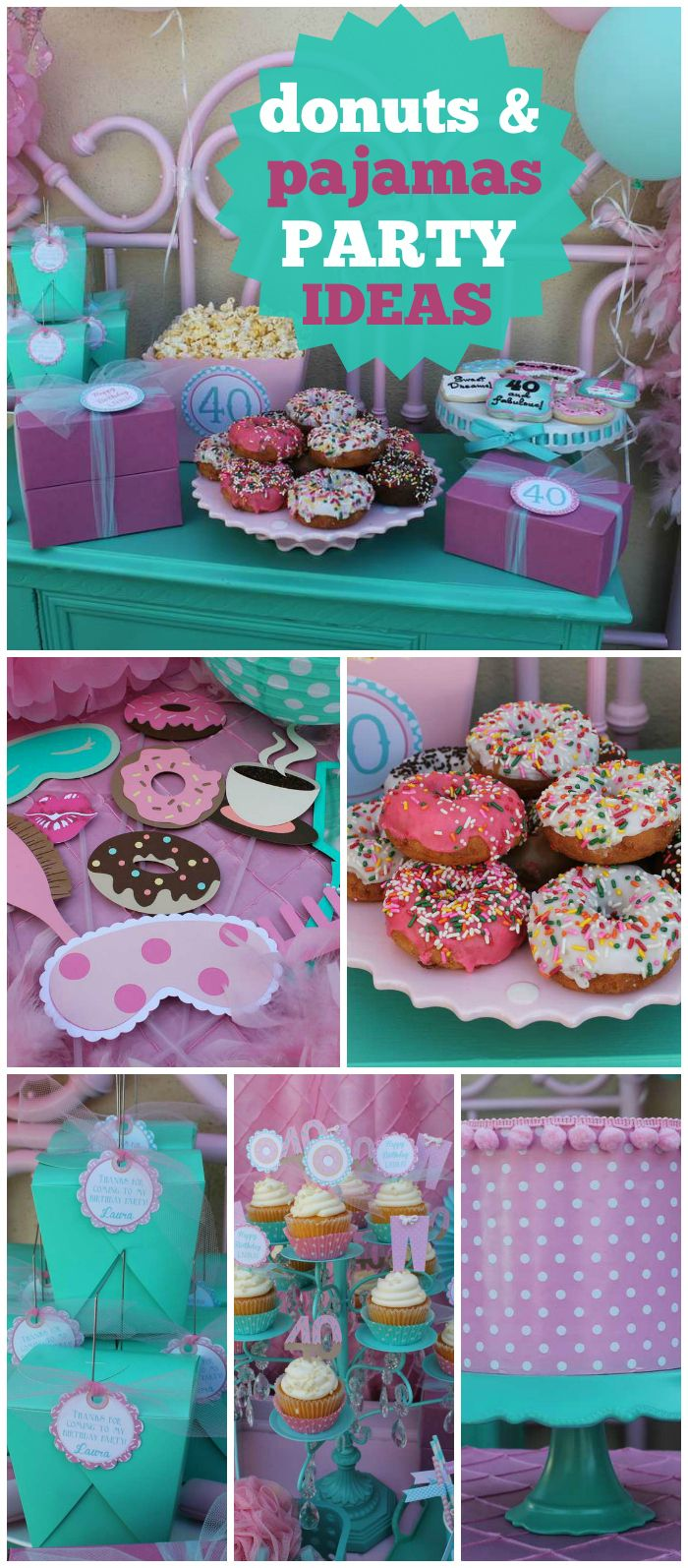 A donuts and pajamas 40th birthday party with sprinkled donuts, fun colors…