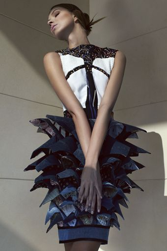 Sustainable Fashion Design - upcycled & reconstructed dress made from fabric cutoffs & recycled garments - eco fashion; wearable art // Phee Ng