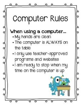 Cute, monster theme computer rules poster.