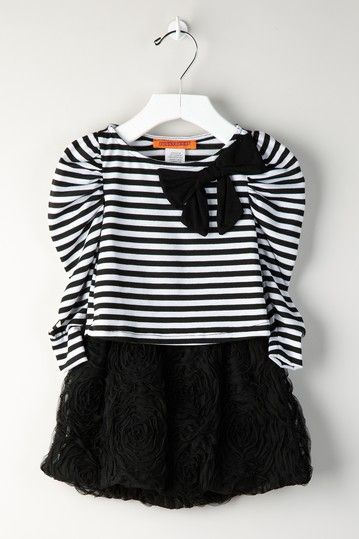 Striped Top and Textured Skirt