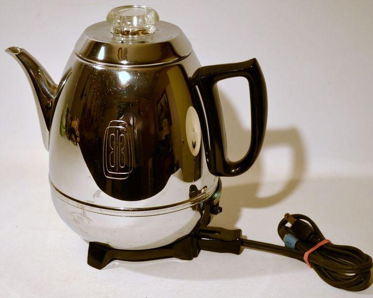 Vintage General Electric GE Chrome Pot Belly Coffee Maker Percolator Pot P410B General ...