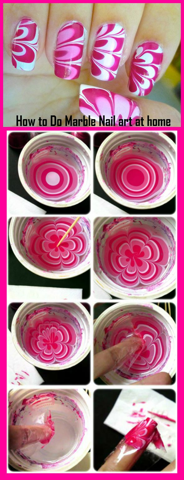 Elegant Girls Like To Know How To Do Water Marble Nail Art At Home, So I
