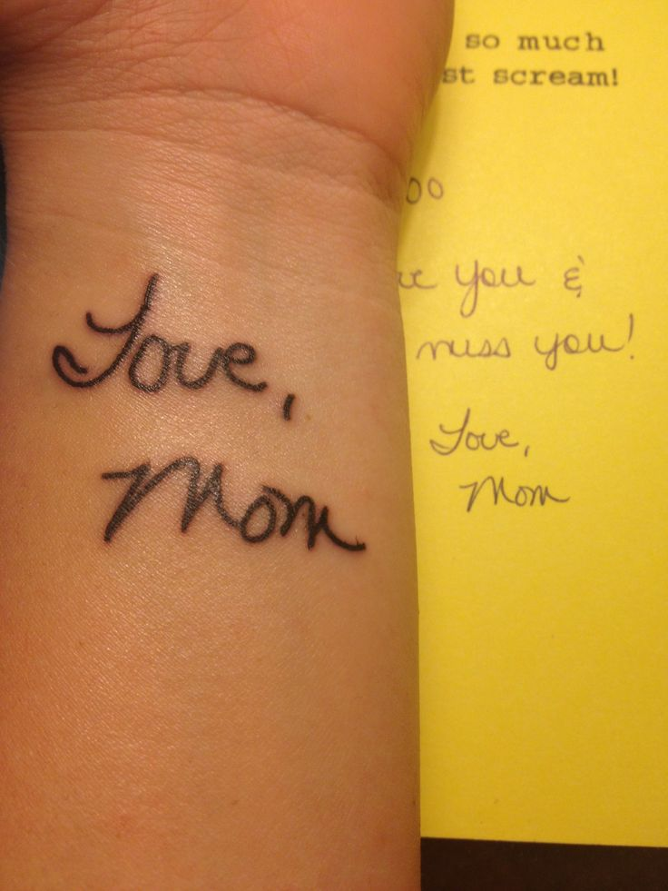 My mom passed away two and a half years ago. She used to send my brother and I cards whenever she went away on business trips and she'd sign every one the same way. I got this at Curious Tattoo in College Park, Maryland. Ryan did an amazing job reproducing my mom's handwriting. I could not be happier with the way this turned out and I am excited to have a piece of her with me at all times.