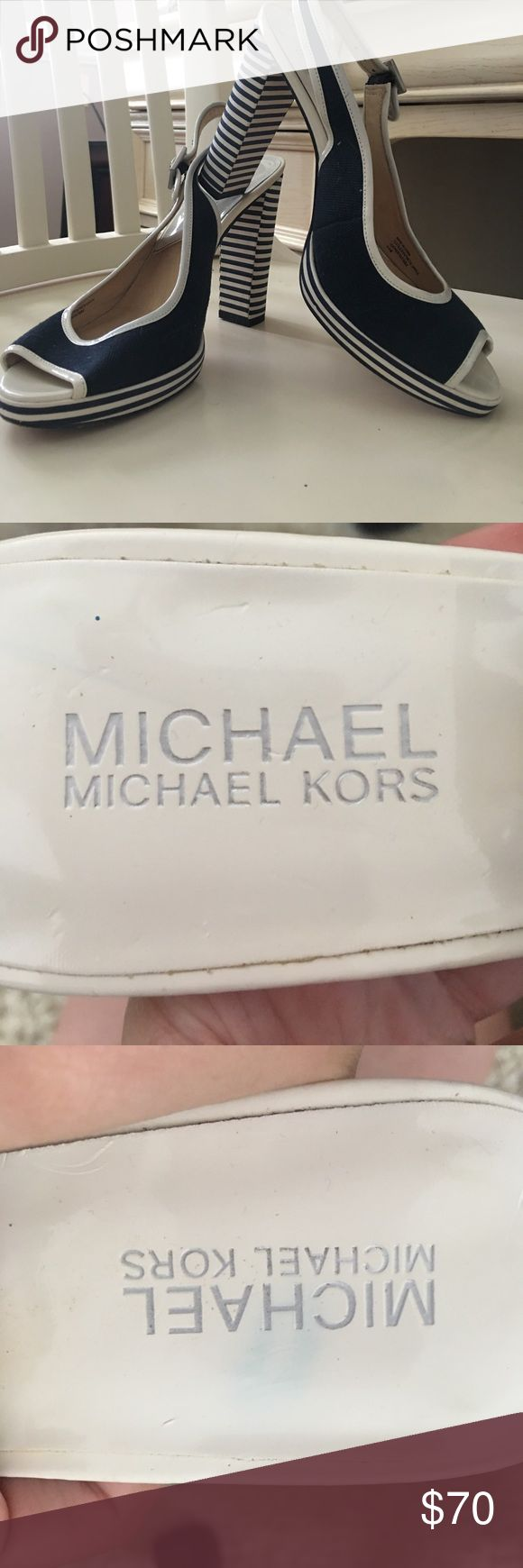 Michael Kors High Heels Only worn a few times. All wear to shoes is documented in pictures and misty on the bottom of shoes. Super adorable for summer, nautical theme or any summer holiday! Michael Kors Shoes Heels