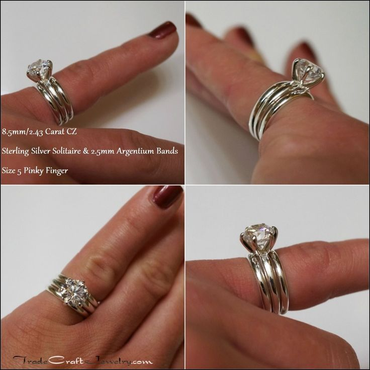 Solitaire Engagement Ring with Plain Wedding Band