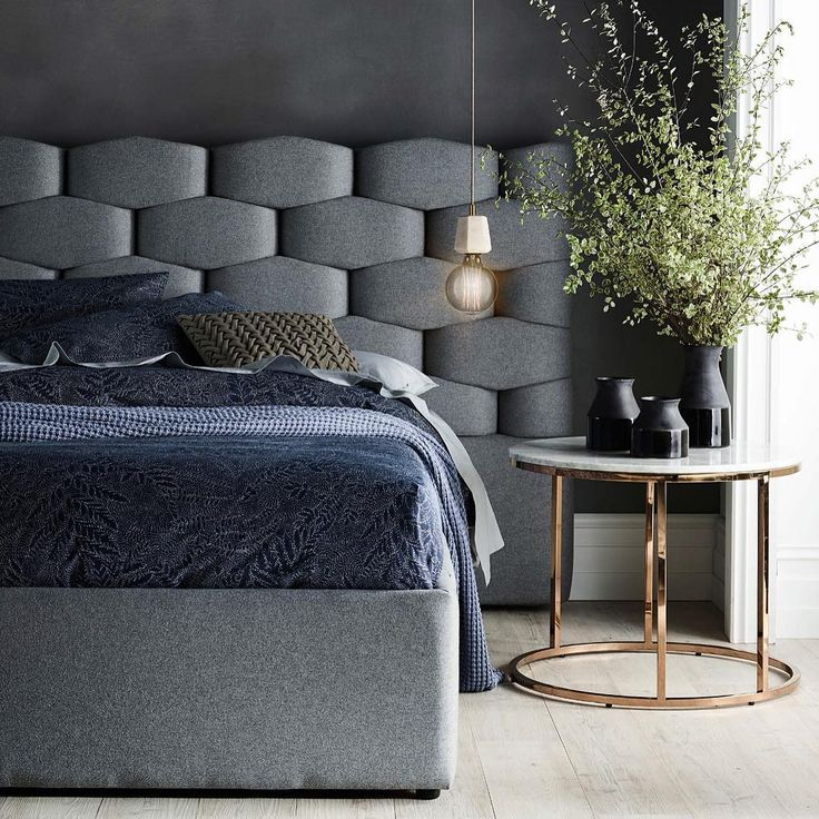 Embrace dark tones, soft light and a tactile blend of textiles to create a sophisticated edge in the bedroom. Look for felt, velvet, knits, linen and cotton textures in the form of luxe upholstery, cushions, throws and bed linen. #domayne #furniture #pietrabedframe