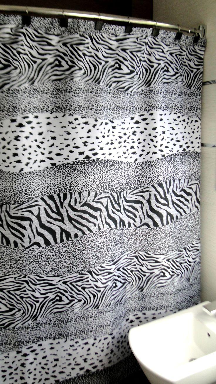 modelo nairobi blanco u negro cortina de bao estampada de tefln medida x