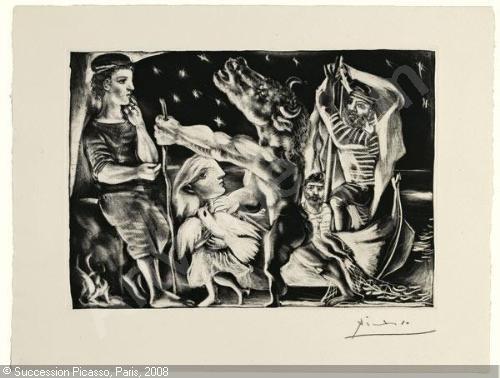 Pablo Picasso – Minotaure aveugle guidé par Marie-Thérèse au Pigeon dans une Nuit étoilée