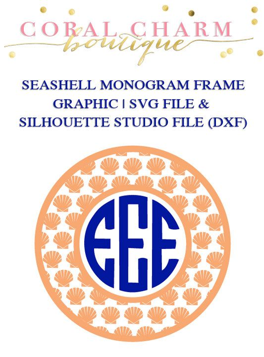 Seashell Monogram Frame File for Cutting Machines | SVG and Silhouette Studio (DXF)
