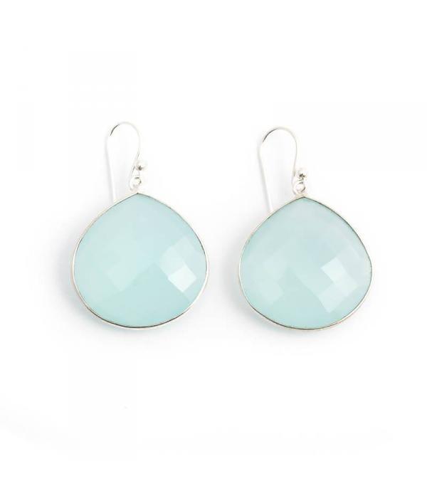 De Vogue Aqua blauwe oorbellen met edelstenen in chalcedoon