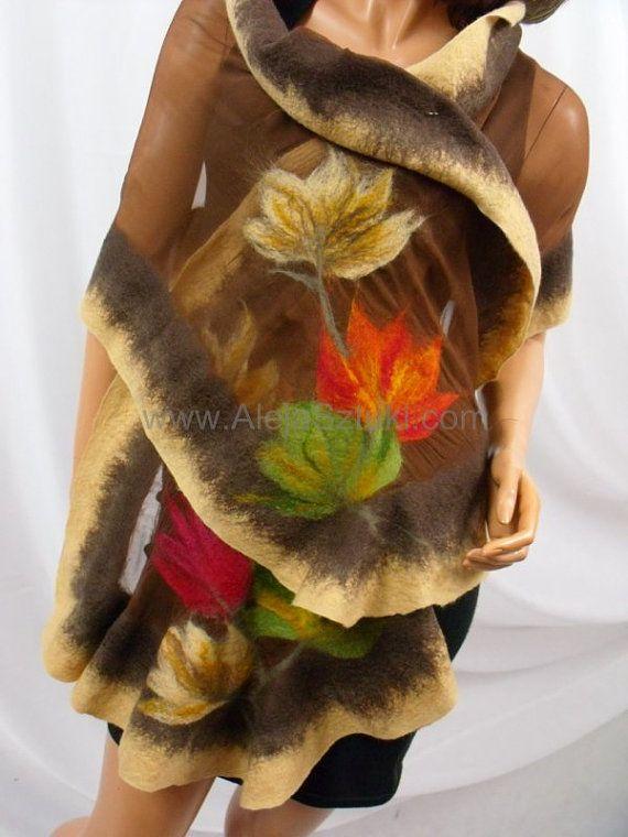 Handgefertigte Seiden Schal auf natürliche Seide von Nunofeltart, $115.00