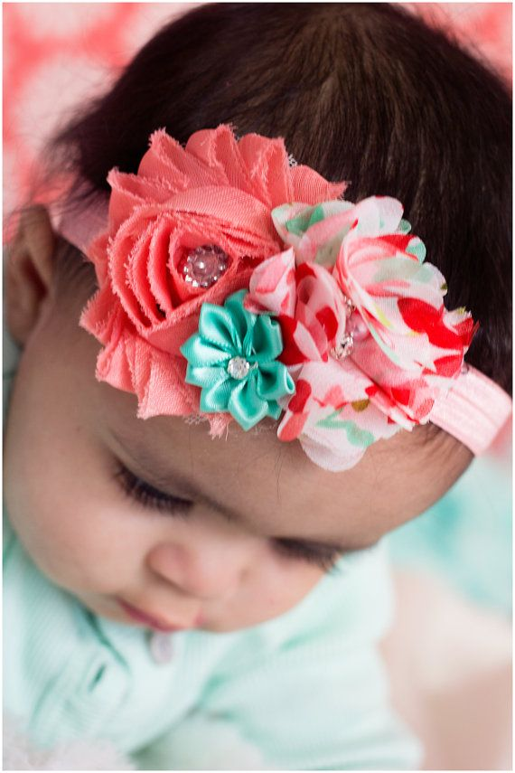 Hey, I found this really awesome Etsy listing at https://www.etsy.com/listing/218544691/coral-aqua-baby-headband-newborn-girl