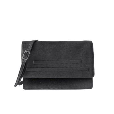 BANDHU small essential bag leather with suede black, cross body bag and also clutch. minimalistic and multifunctional