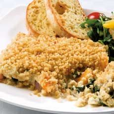 *Idea - not a recipe*   Butternut Squash, Spinach and Red Onion Crumble