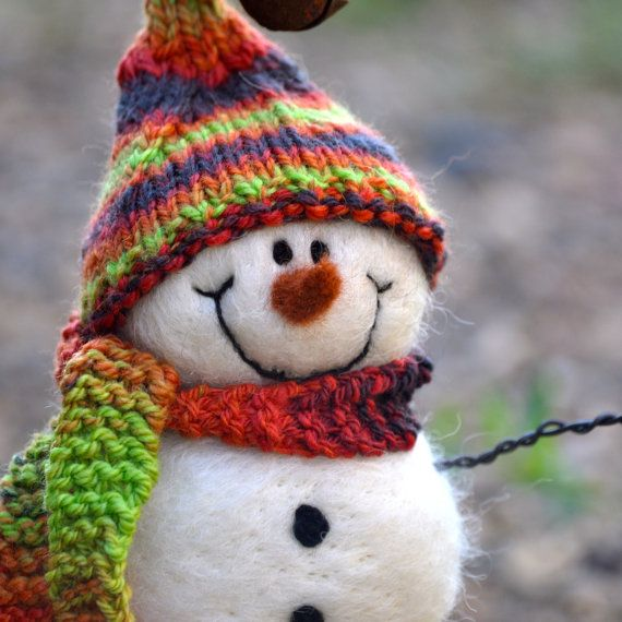 Woolly Needle Felted Snowman with Hand spun, hand knit scarf and hat 5