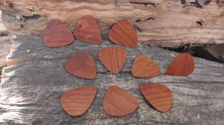 Guitar Picks, hand made Almond wood Plectrums - set of 10 by ellenisworkshop on Etsy