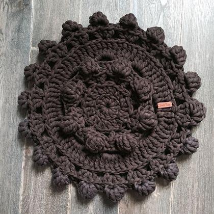 Текстиль, ковры ручной работы. Ярмарка Мастеров - ручная работа. Купить Гигантовязаный коврик из 100% хлопка шоколадного цвета. Handmade.