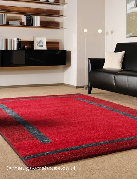 Rosario Red Rug - Fabric: 100% Pure Twisted Argentinean New Wool - #Modern Bordered Rug
