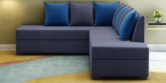 Crown Rhs Sofa With Cushions In Grey With Blue Colour By Muebles