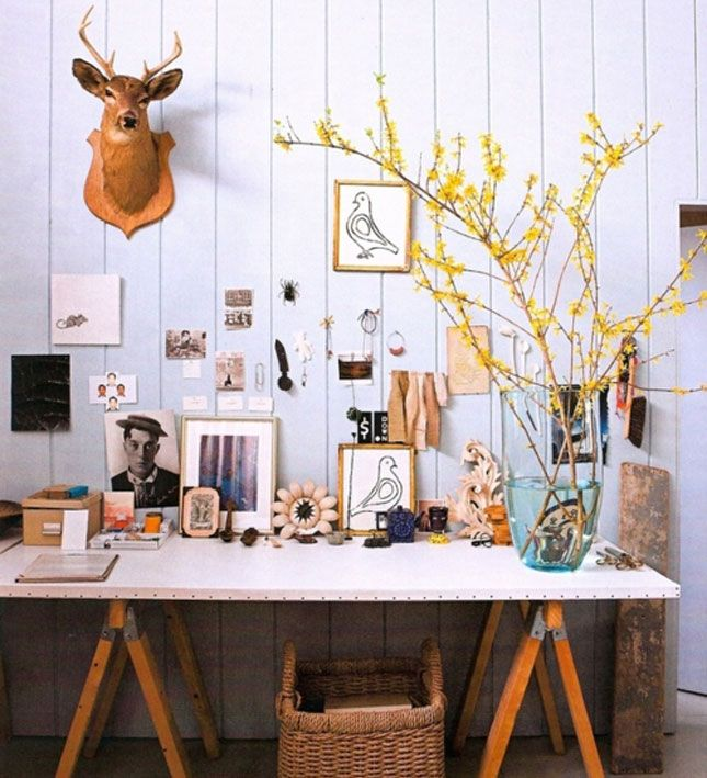 Such a cool desk! I like the idea of using a large blank canvas as the desk top so I can mark on it and create art on the canvas itself as I work on each project. And I'd love some taxidermy!