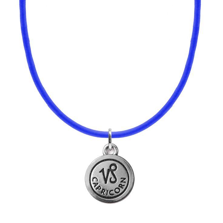 Blue Zodiac Charm Neoprene Necklace