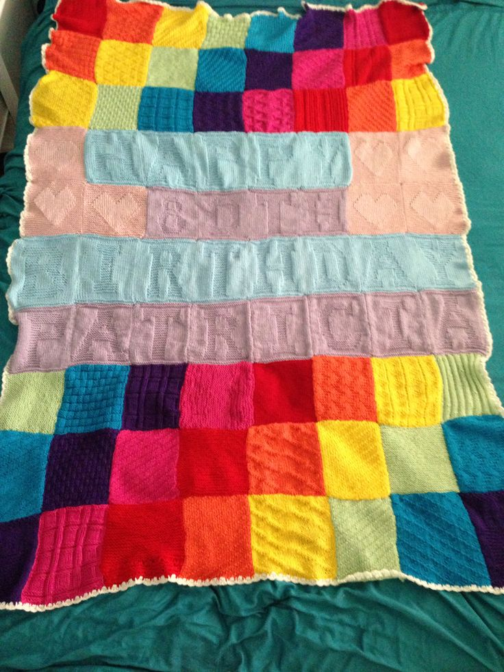 Colourful knitted personalised blanket for my NANs birthday!