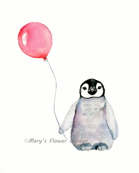 Penguin with balloon ***8 X 10 vertical print of a emperor penguin holding a red balloon from my original watercolor painting ***printed