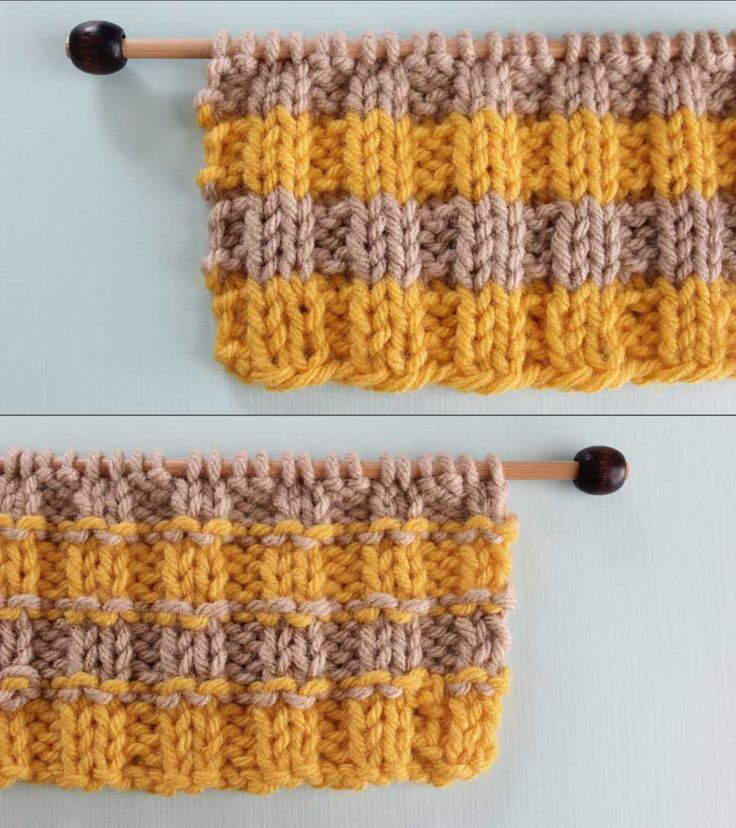 Right and Wrong Sides of 2X2 Rib Knit Stitch Pattern with Stripes. How to Remove Purl Dash Lines - Knit Stripes with Studio Knit